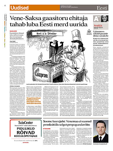 Oliver Schopf, editorial cartoons, cartoonist, Reprint of a cartoon in the Estonian daily paper  Eesti Päevaleht on Gazprom's Baltic Sea pipeline..