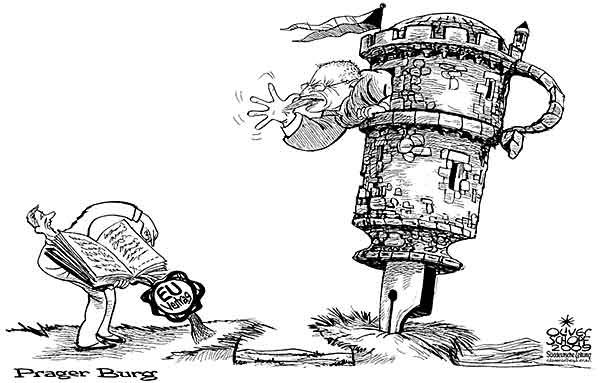 Oliver Schopf Politische Karikatur Eu Verfassung 2009 Vaclav