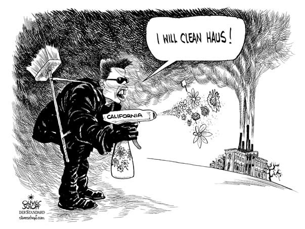 Oliver Schopf Politische Karikatur USA Gouverneur