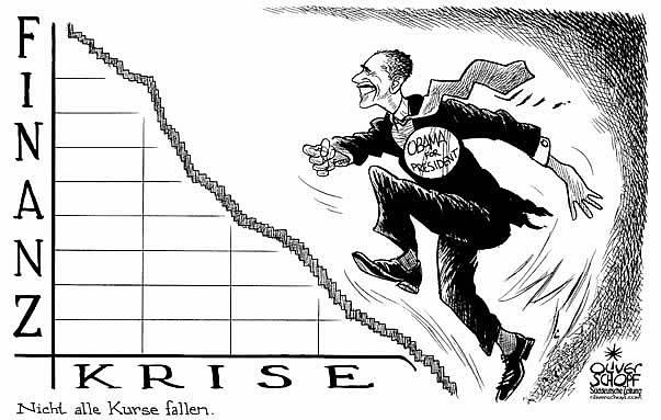 Oliver Schopf politische Karikatur: USA Präsidentenwahl 2008 - Kandidat Obama und die Finanzkrise