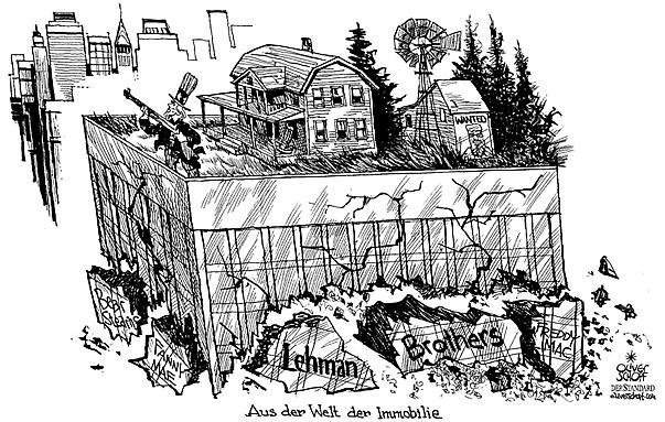 Oliver Schopf politische Karikatur: Wirtschaft - Die Finanzkrise und die Lehman Brothers