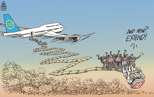 Oliver Schopf, editorial cartoons from Austria, cartoonist from Austria, Austrian illustrations, illustrator from Austria, editorial cartoon politics politician Europe, Cartoon Arts International, New York Times Syndicate, Cagle cartoon 2019 GREAT BRITAIN BREXIT EU EXTENSION DELAY VOTE THERESA MAY AIRPLANE FLIGHT JUMP