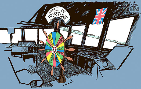 Oliver Schopf, editorial cartoons from Austria, cartoonist from Austria, Austrian illustrations, illustrator from Austria, editorial cartoon politics politician Europe, Cartoon Arts International, New York Times Syndicate, Cagle cartoon 2018 BREXIT GREAT BRITAIN EU LEAVE HARD BREXIT SOFT BREXIT THERESA MAY SHIP VESSEL BRIDGE WHEEL OF FORTUNE