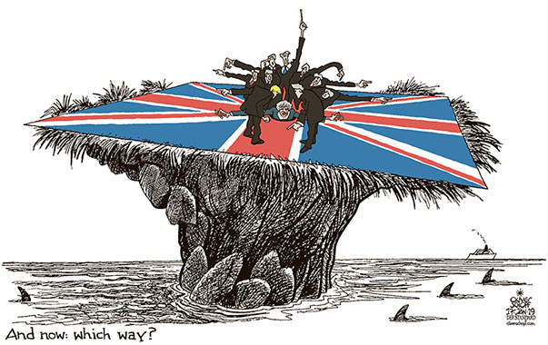 Oliver Schopf, editorial cartoons from Austria, cartoonist from Austria, Austrian illustrations, illustrator from Austria, editorial cartoon politics politician Europe, Cartoon Arts International, New York Times Syndicate, Cagle cartoon 2019 GREAT BRITAIN BREXIT VOTE ISLAND BRITISH ISLES DIRECTION WHICH WAY CLIFF UNION JACK FLAG