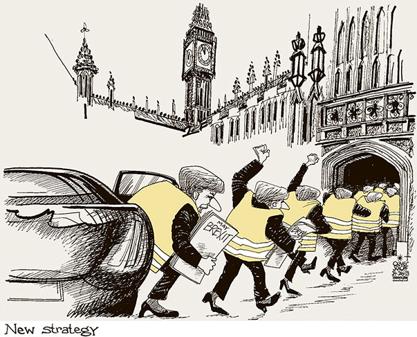 Oliver Schopf, editorial cartoons from Austria, cartoonist from Austria, Austrian illustrations, illustrator from Austria, editorial cartoon politics politician Europe, Cartoon Arts International, New York Times Syndicate, Cagle cartoon 2019 GREAT BRITAIN BREXIT THERESA MAY HOUSES OF PARLIAMENT WESTMINSTER YELLOW VESTS PROTEST NEW STRATEGY