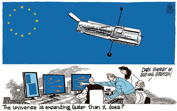 Oliver Schopf, editorial cartoons from Austria, cartoonist from Austria, Austrian illustrations, illustrator from Austria, editorial cartoon politics politician Europe, Cartoon Arts International, New York Times Syndicate, Cagle cartoon 2019 EUROPEAN UNION ELECTIONS STARS UNIVERSE EXPANSION HUBBLE TELESCOPE DARK ENERGY RIGHT-WING EXTREMISM NATIONALISM OBSERVATORY ASTRONOMERS