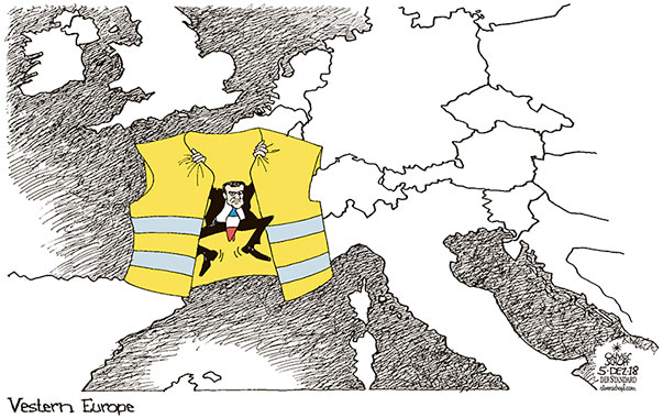 Oliver Schopf, editorial cartoons from Austria, cartoonist from Austria, Austrian illustrations, illustrator from Austria, editorial cartoon politics politician Europe, Cartoon Arts International, New York Times Syndicate, Cagle cartoon 2018 FRANCE YELLOW VEST MOVEMENT PROTESTS  RIOTS MACRON WESTERN EUROPE MAP