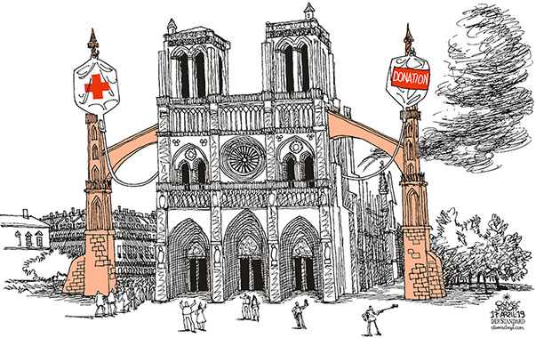 Oliver Schopf, editorial cartoons from Austria, cartoonist from Austria, Austrian illustrations, illustrator from Austria, editorial cartoon politics politician Europe, Cartoon Arts International, New York Times Syndicate, Cagle cartoon 2019 FRANCE PARIS CATHEDRAL NOTRE DAME FIRE ROOF INFUSION HELP AID CHURCH PILLAR