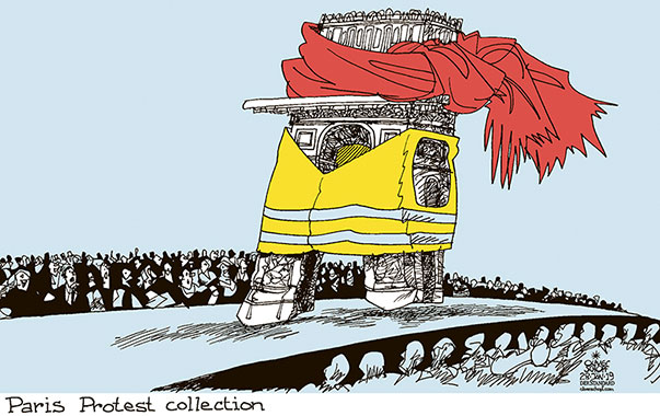 Oliver Schopf, editorial cartoons from Austria, cartoonist from Austria, Austrian illustrations, illustrator from Austria, editorial cartoon politics politician Europe, Cartoon Arts International, New York Times Syndicate, Cagle cartoon 2019 FRANCE PARIS YELLOW VESTS RED SCARFS FASHION COLLECTION CATWALK ARC DE TRIOMPHE
