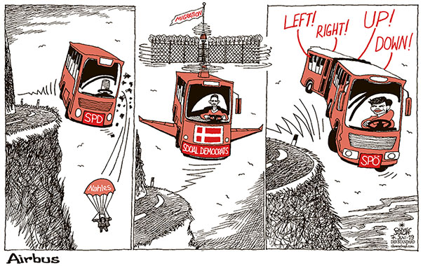 Oliver Schopf, editorial cartoons from Austria, cartoonist from Austria, Austrian illustrations, illustrator from Austria, editorial cartoon politics politician Europe, Cartoon Arts International, New York Times Syndicate, Cagle cartoon 2019 SOCIAL DEMOCRATIC PARTY DENMARK EU AUSTRIA GERMANY PÖ SPD NAHLES RENDI-WAGNER BUS AIRBUS ABYSS CURVE CRISIS MIGRATION