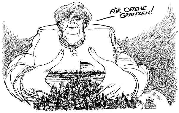 Oliver Schopf, politischer Karikaturist aus Österreich, politische Karikaturen aus Österreich, Karikatur Cartoon Illustrationen Politik Politiker Deutschland 2015 FLÜCHTLINGE REFUGEES ANGELA MERKEL RAUTE HÄNDE BUNDESKANZLERIN OFFENE GRENZEN