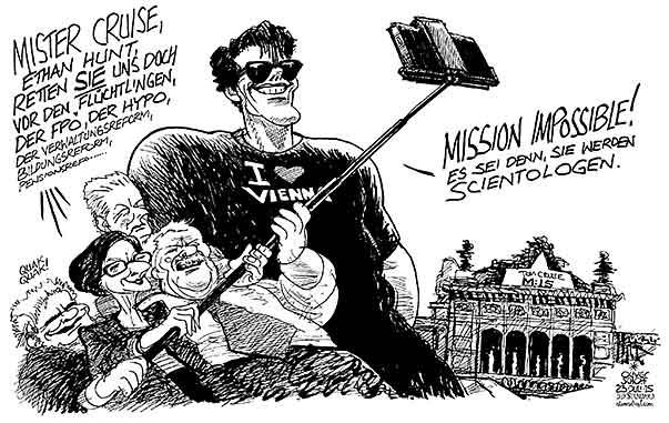 Oliver Schopf politische Karikatur: Österreich - Tom ... Tom Cruise