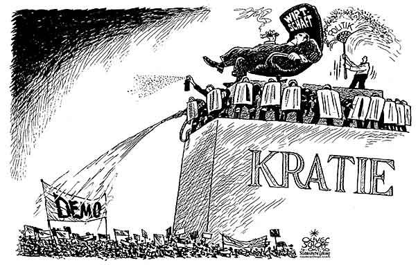 Oliver Schopf, politischer Karikaturist aus Österreich, politische Karikaturen, Illustrationen Archiv politische Karikatur Welt 2010 demokratie demo protest  wirtschaft politik denkmal polizei wasserwerfer